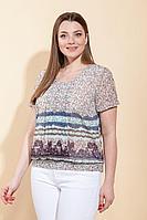 Женская летняя шифоновая бежевая большого размера блуза La Prima 0201 беж+мята 50р.