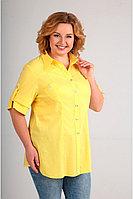 Женская летняя хлопковая желтая большого размера блуза Таир-Гранд 6254 желтый 50р.
