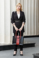 Женская осенняя кожаная деловая сумка YFS 106 черный+бордо без размерар.