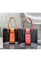 Женская осенняя кожаная деловая сумка YFS 106 черный+коричневый без размерар.