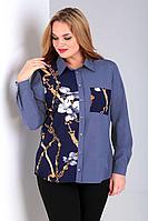 Женская осенняя синяя большого размера блуза Таир-Гранд 62364 джинсовый 52р.