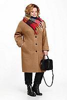 Женское осеннее драповое коричневое большого размера пальто Pretty 832 карамель 54р.