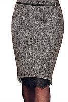 Женская осенняя серая деловая юбка Klever 384/1 46р.