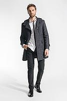 Мужское осеннее драповое серое пальто Gotti 048-16у серо-черный-твид 44р.