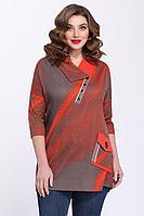 Женская осенняя трикотажная красная большого размера блуза Matini 4.1244 серый_с_красным 60р.