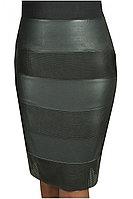 Женская осенняя кожаная черная деловая нарядная большого размера юбка Klever 295/1 перфорация 42р.