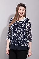 Женская осенняя шифоновая синяя большого размера блуза La Prima 0244 50р.