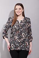 Женская осенняя из вискозы черная большого размера блуза La Prima 0331 50р.