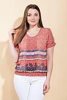 Женская летняя шифоновая красная большого размера блуза La Prima 0201 красный 50р.