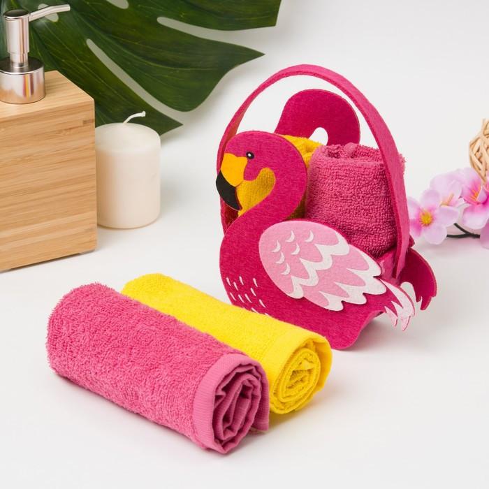 """Набор полотенец в корз. """"Фламинго"""" 30х30 см-2 шт, 100% хлопок, 360 гр/м2"""