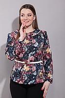 Женская осенняя синяя большого размера блуза La Prima 0298 48р.
