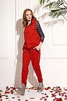 Женский осенний трикотажный красный спортивный большого размера свитшот AMORI 6207 красный 40р.