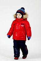 Детская для мальчиков осенняя с мехом красная куртка Lona 7205И 98-52р.