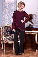 Женская осенняя шифоновая красная нарядная большого размера блуза Euromoda 199 48р.