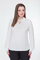 Женская летняя белая нарядная большого размера блуза БелЭкспози 1176 белый 48р.