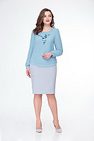 Женская осенняя голубая нарядная блуза БелЭкспози 1168-2 46р.