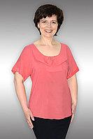 Женская летняя из вискозы розовая большого размера блуза Таир-Гранд 62177 коралл 50р.