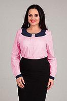 Женская осенняя хлопковая розовая деловая нарядная большого размера блуза Таир-Гранд 62230 розовый 48р.