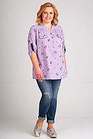 Женская летняя из вискозы фиолетовая большого размера блуза Таир-Гранд 62329 сирень-полоска 54р.