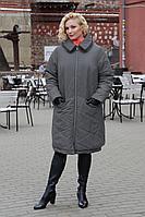 Женское зимнее серое большого размера пальто Bugalux 950 164-серый 46р.