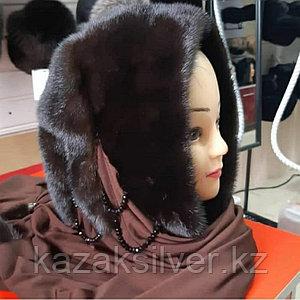 Норковый платок капюшон