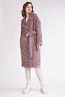 Пальто демисезонное, экомех, 40-46, каштановое