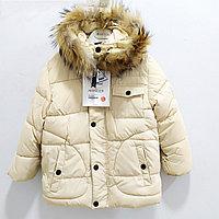 """Зимняя куртка """"Moncler"""" для девочек от 4 до 9 лет, бежевая."""