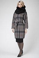 Пальто демисезонное, шерсть, 44-52, серо-малиновое