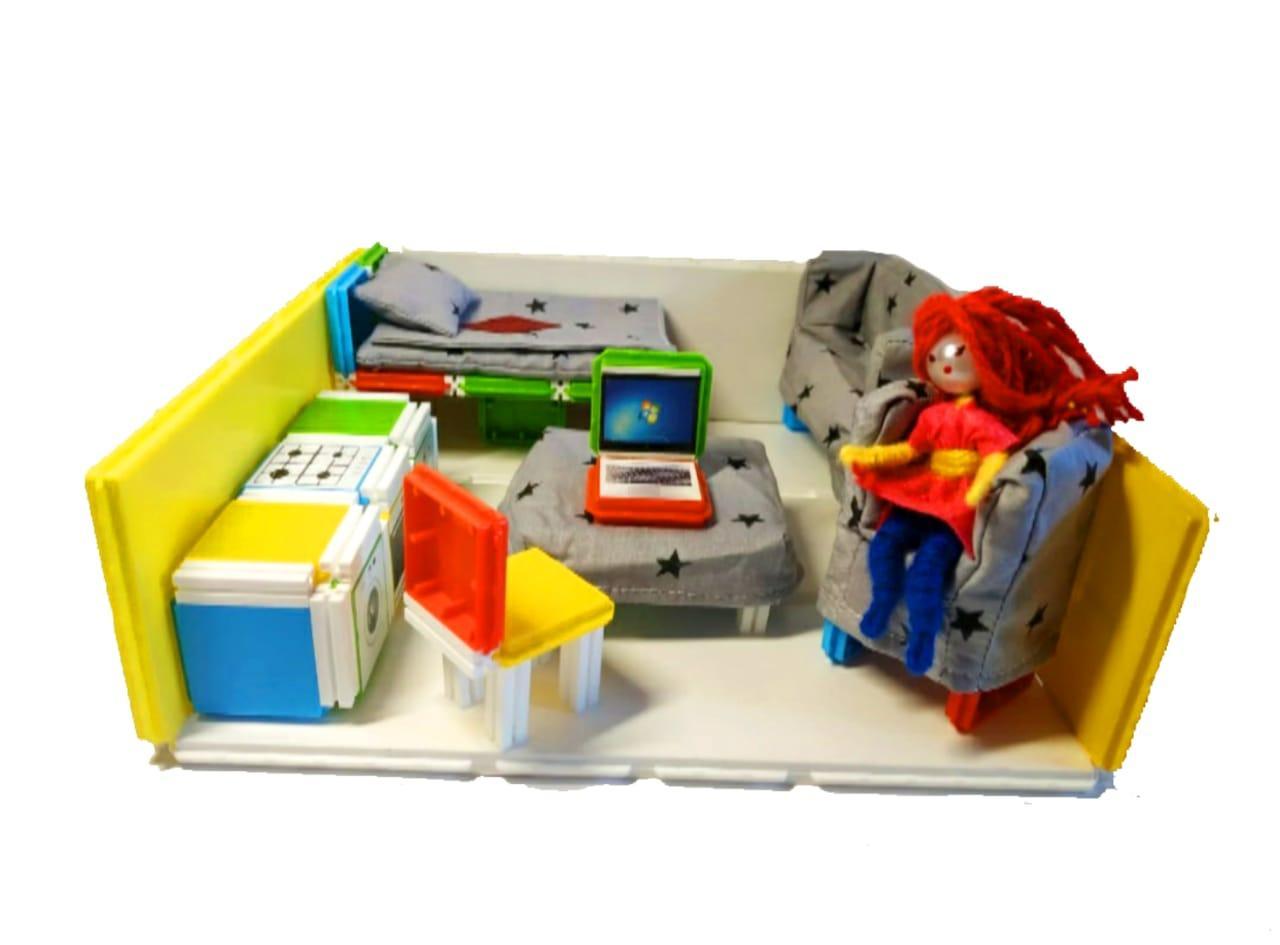 Домик для кукол и пупсов с мягкой мебелью и подарком. - фото 1