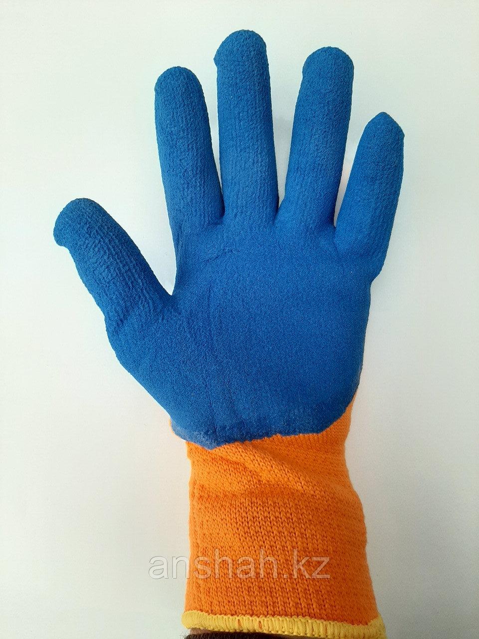 Прорезиненные плотные перчатки оранжевые  300#  оригинал  полный облив