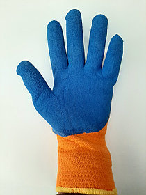 Прозезиненые плотные перчатки оранжевые  300#  оригинал  полный облив