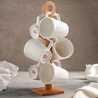 """Набор кружек 360 мл """"Эстет. Тюльпан"""", 6 шт, на деревянной подставке"""