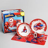 Набор посуды «Человек-паук», 4 предмета: тарелка Ø 16,5 см, миска Ø 14 см, кружка 200 мл, коврик в подарочной упаковке, Человек-паук