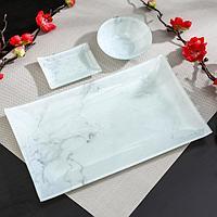 Набор для суши «Марбл белый», 3 предмета: соусники 8×2 / 8×6 см, подставка 25×15 см