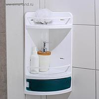 Полка для ванной угловая, 19×19×46,5 см, цвет зелёный