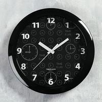 Часы настенные круглые 'Классика', чёрный обод, 29х29 см