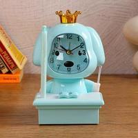 Часы-будильник с подсветкой, с ручкой, циферблат 6.6х6.5, 1 АА, дискретный ход, голубой