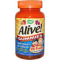 Nature's Way, Alive! Жевательные конфеты, мультивитамины для детей, вишня, виноград и апельсин, 90 жевательных