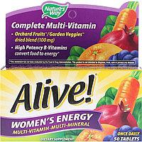 Nature's Way, Alive!, комплекс мультивитаминов и мультиминералов для пополнения запаса энергии женщин, 50 табл