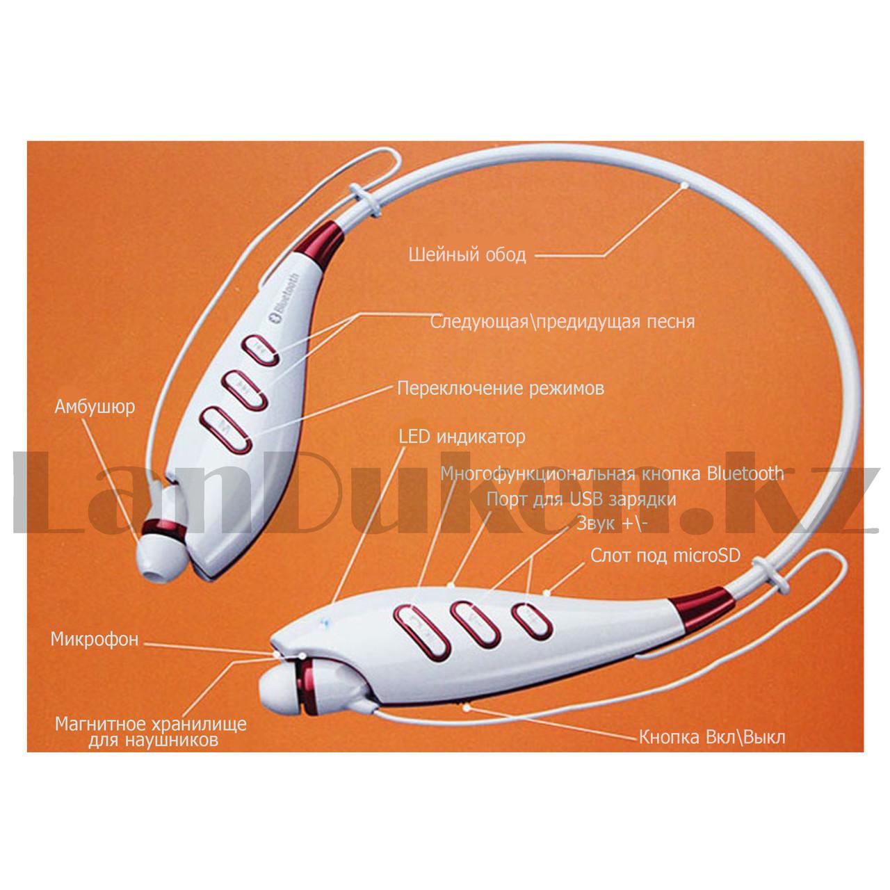 Беспроводные стерео Bluetooth наушники LG-S740T белые - фото 7