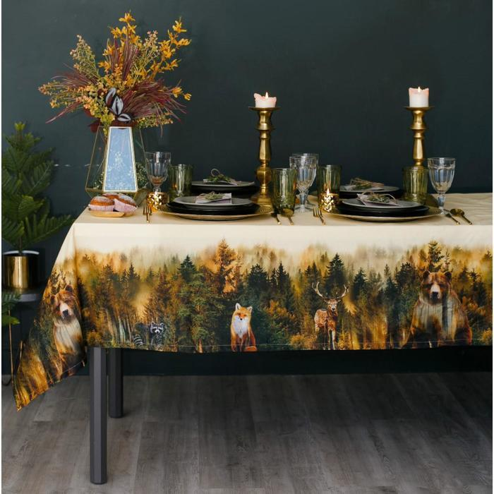 Скатерть «Этель: Лес», 180 × 150 см, хлопок 100 %, саржа, 190 г/м²