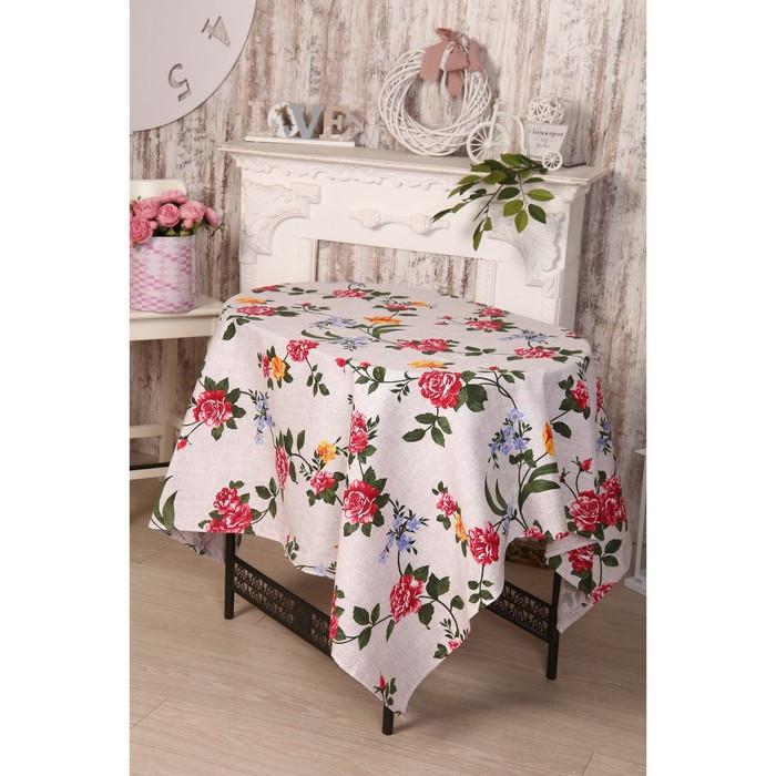 Скатерть DomoVita «Розы», размер 150х180см, хлопок, рогожка