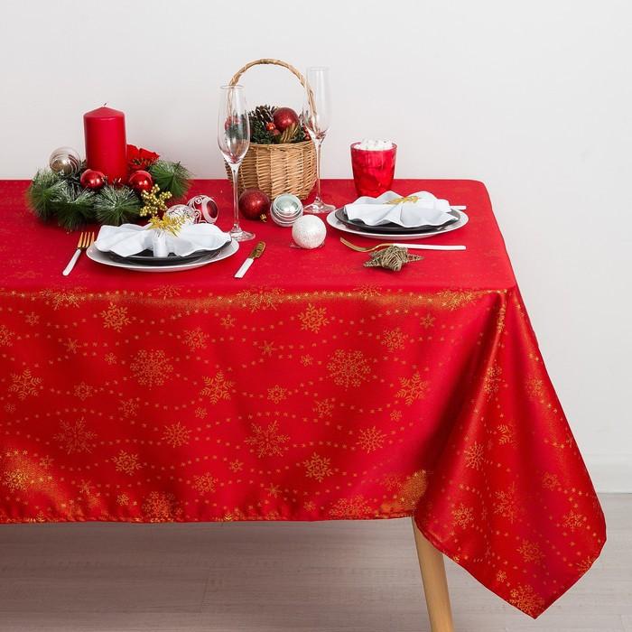 Скатерть Доляна «Снежинки» цвет красный, 150×220 см, 115 ± 10 г/м², 100% п/э
