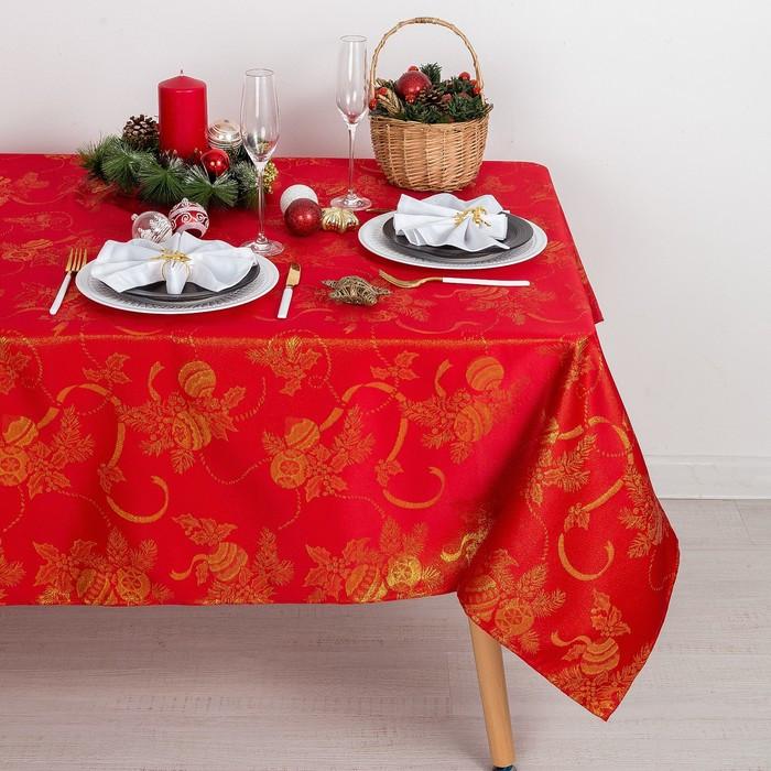 Скатерть Доляна «Счастливый Новый год» цвет красный, 150×180 см, 115 ± 10 г/м², 100% п/э