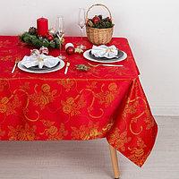 Скатерть Доляна «Счастливый Новый год» цвет красный, 150×280 см, 115 ± 10 г/м², 100% п/э