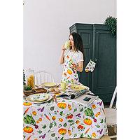 """Скатерть """"Доляна"""" Овощи 145х180 см, 100% хлопок,вафельное полотно, 162 г/м2"""