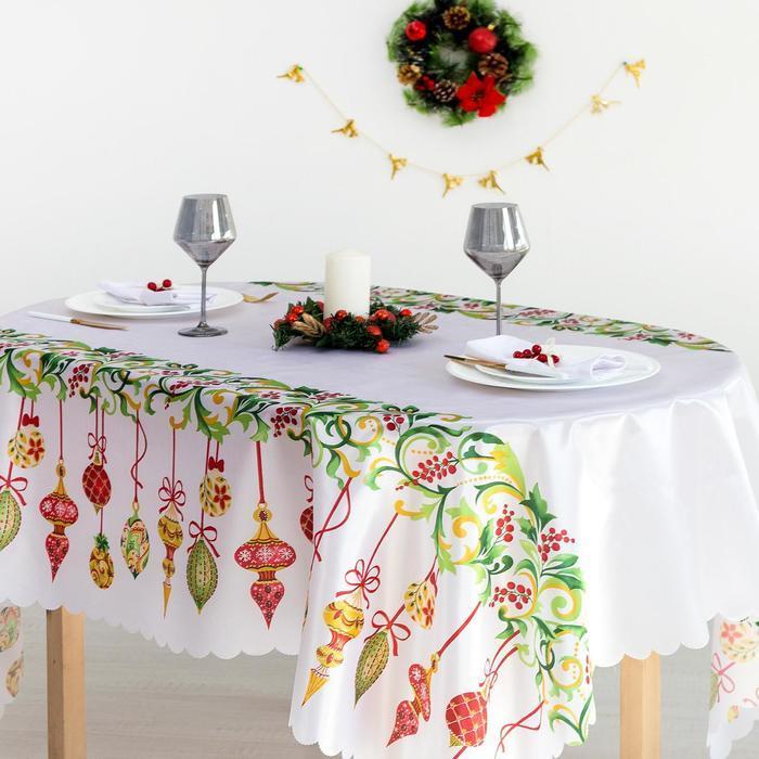 Скатерть Доляна «Новогодние украшения» 145×260 см, 100% п/э