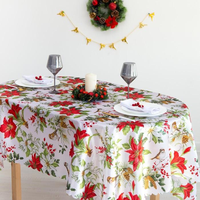 Скатерть Доляна «Рождество» 145×300 см, 100% п/э