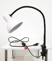Лампа настольная на струбцине гибкая стойка Белая