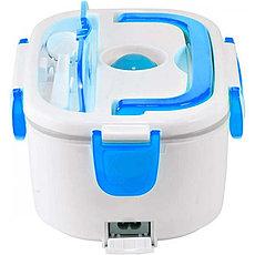 Автомобильный ланч-бокс с подогревом, цвет белый + голубой. С Днем Автомобилиста!, фото 2